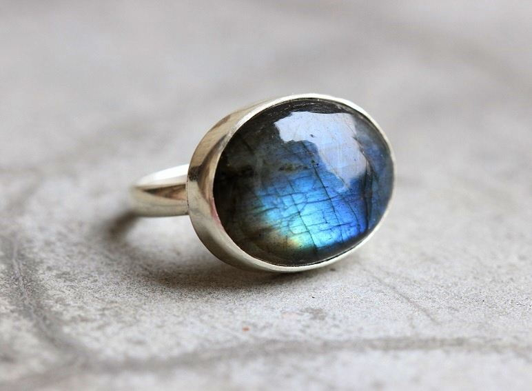 Buy Ooak Natural Labradorite Ring Cabochon Silver Ring