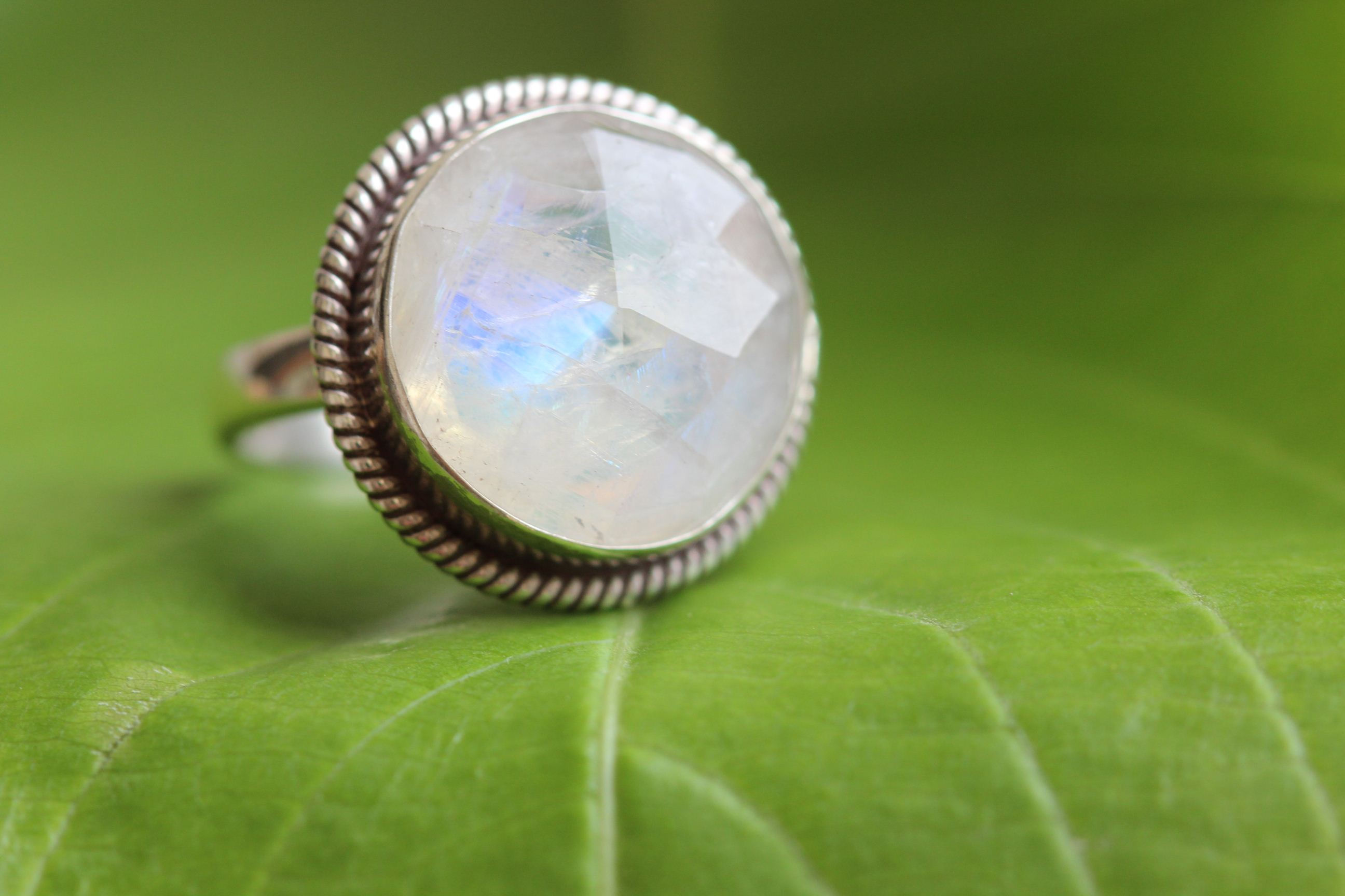 OOAK Rainbow moonstone ring statement