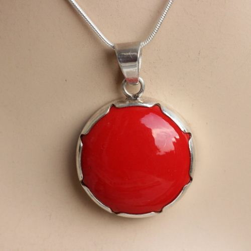 coral silversmith product pendant village woven red dsc