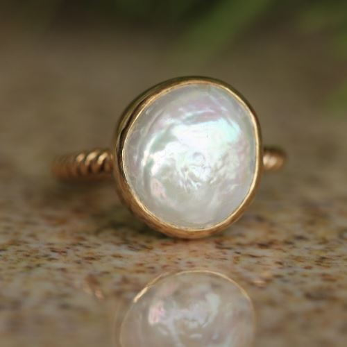 Coin Pearl Ring 18k Gold Wedding Rings For Women