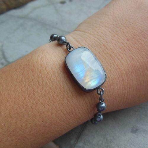 Oxidized Rainbow Moonstone Bracelet Sterling Silver