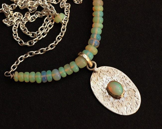 Opal Necklace Hammered Natural Opal