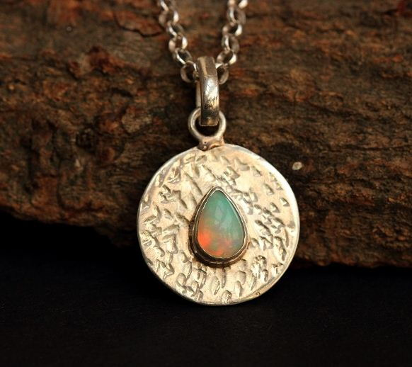 Opal pendant Hammered Natural Opal
