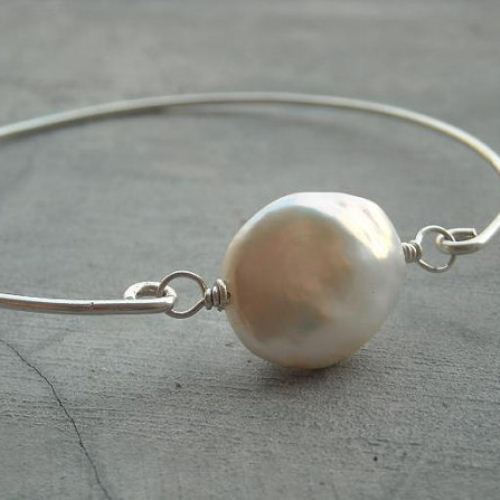 Oval Pearl bracelet bangle bracelet