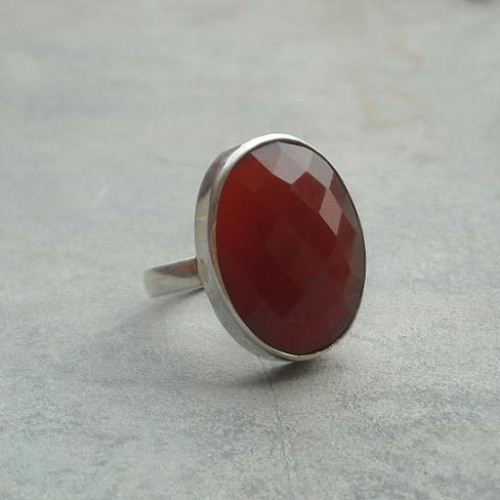 Oval faceted carnelian ring sterling