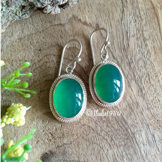 Oval green onyx earrings Handmade