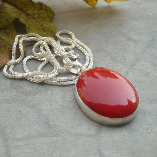 chain red beads necklace pendant fashion coral jewelry women item silver