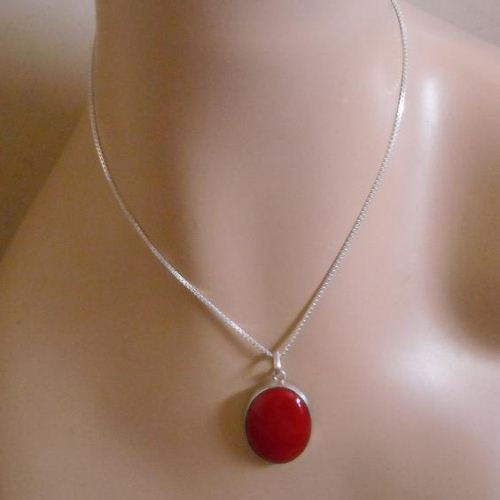 Buy oval red coral pendant chain jewelry 925 sterling silver oval red coral pendant chain jewelry 925 sterling silver necklace aloadofball Images