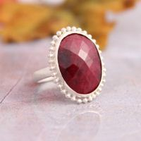 Oval ruby ring - July birthstone rings - Precious stone rings