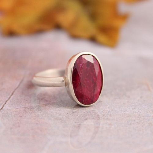Oval ruby ring july birthstone