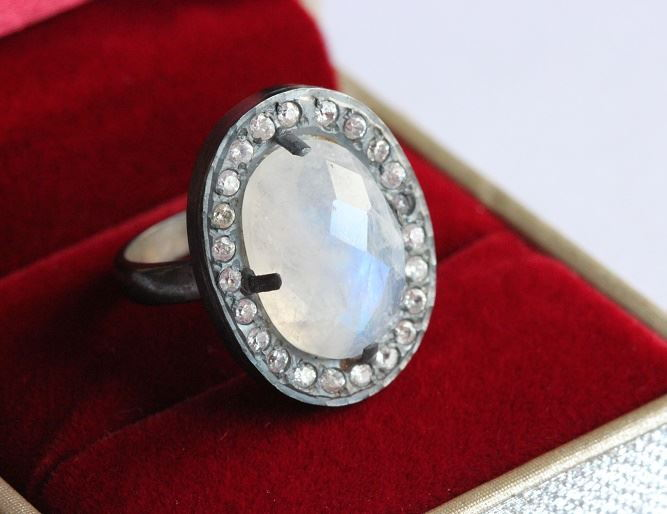 Oxidized OOAK Natural Moonstone Ring