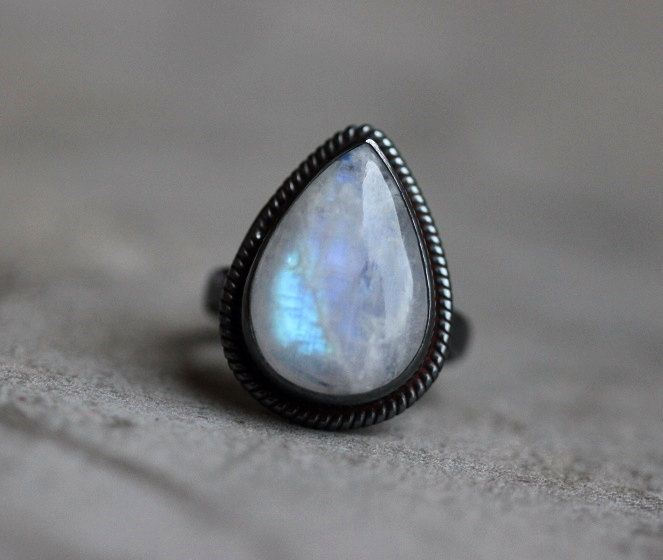 Oxidized Rainbow Moonstone Ring Ethnic