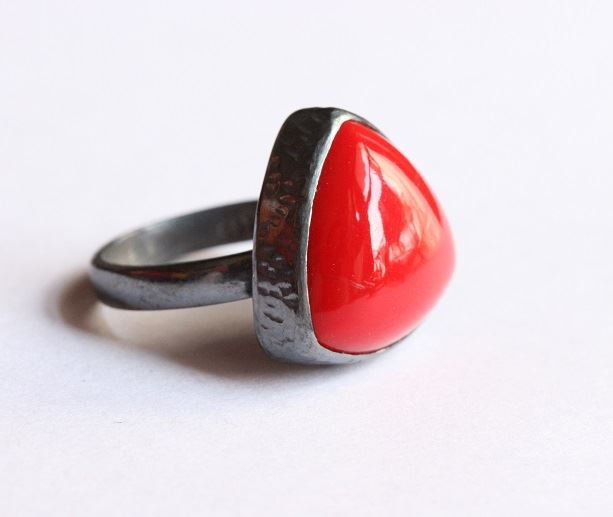 Oxidized Red coral Ring Bezel