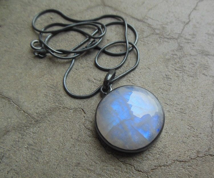 Buy oxidized pendant rainbow moonstone silver round pendant online oxidized pendant rainbow moonstone pendant aloadofball Images