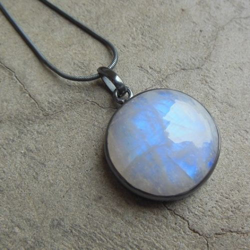 buy oxidized pendant rainbow moonstone silver round pendant online