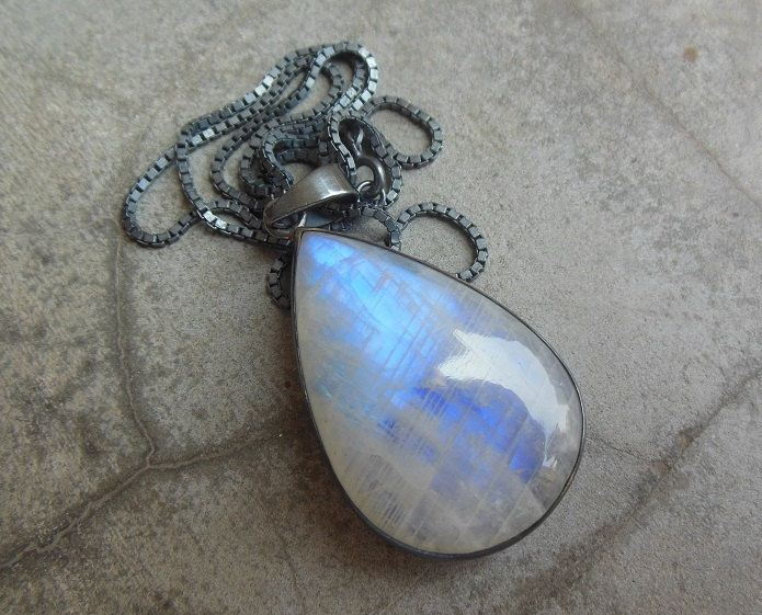Oxidized statement pendant Rainbow Moonstone