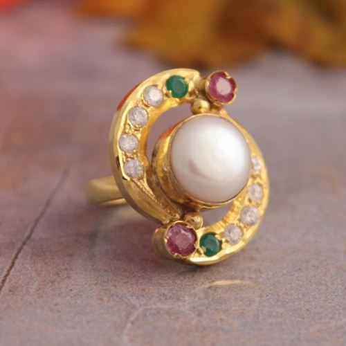 Pearl Cz Ruby Gold ring