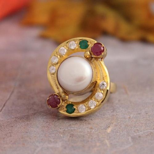 Buy Pearl Cz Ruby Gold Ring Emerald Wedding Ring