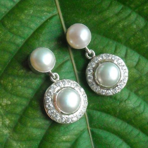Pearl and CZ earrings Bridal