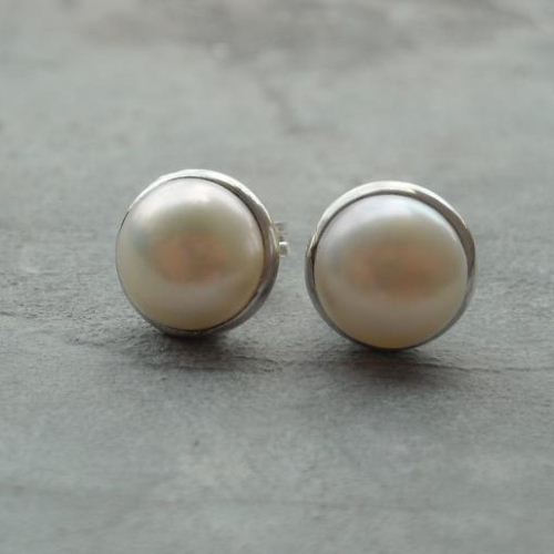 Pearl Stud Earrings 8mm Clic Sterling Silver