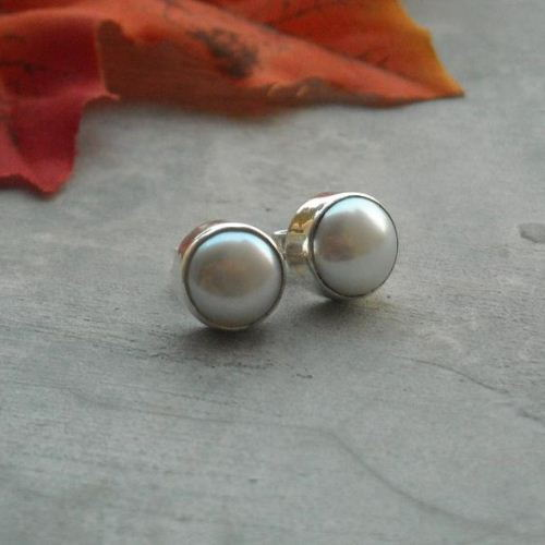 White Pearl Stud Earrings 10mm Freshwater Silver