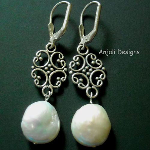 Pearl is FOREVER Sterling Silver Coin Pearl lever back earrings