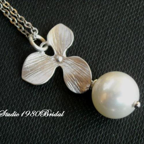Pearl pendant necklace Bridesmaid jewelry