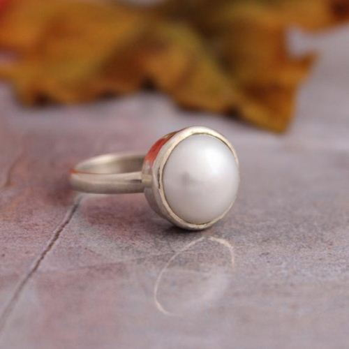 Pearl ring Birthstone ring Sterling