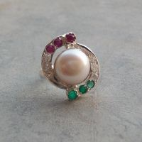 Pearl ring - emerald ring - ruby ring - Sterling silver CZ ring