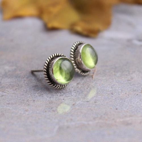 Peridot Earrings Stud Silver