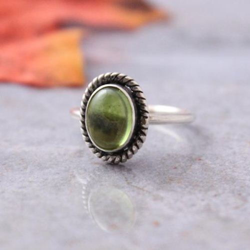Peridot ring Olive green ring