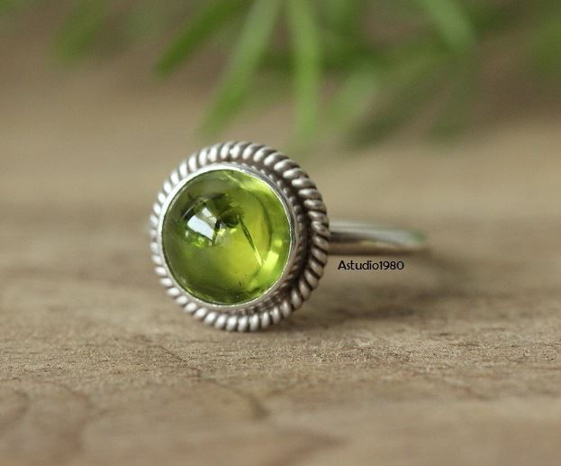 Buy Peridot Ring Olive Green Ring August Birthstone