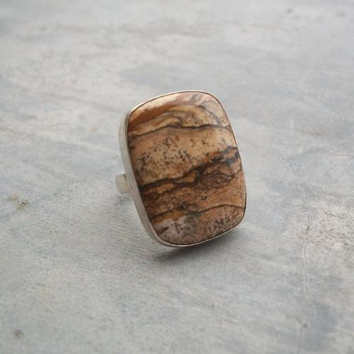 Picture jasper ring Large stone