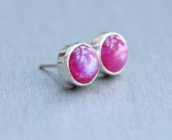 Pink Moonstone Earrings Moonstone Stud