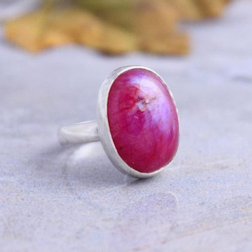 Pink Rainbow Moonstone Ring Cabochon