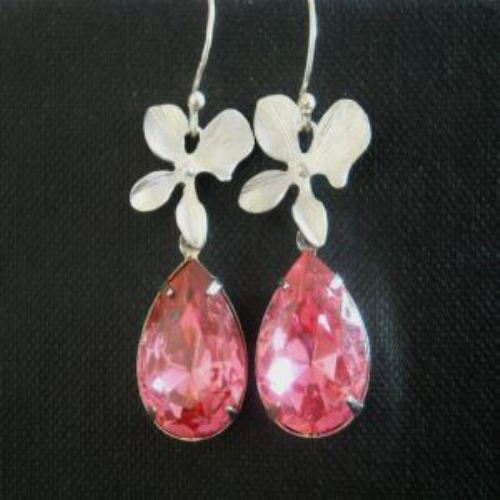 Pink bride Wedding bridal vintage crystal silver flower earrings