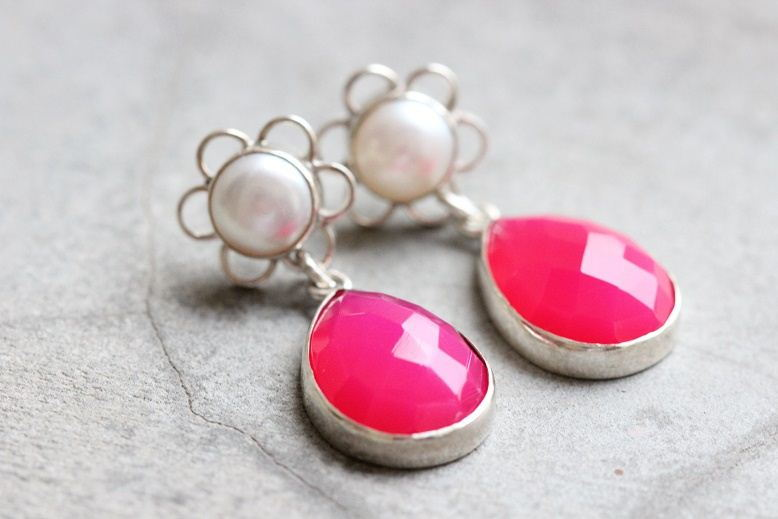 Pink chalcedony flower pearl artisan