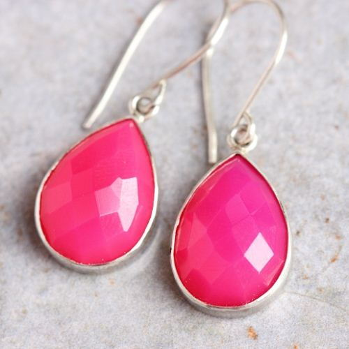 Pink earrings Chalcedony earrings Drop