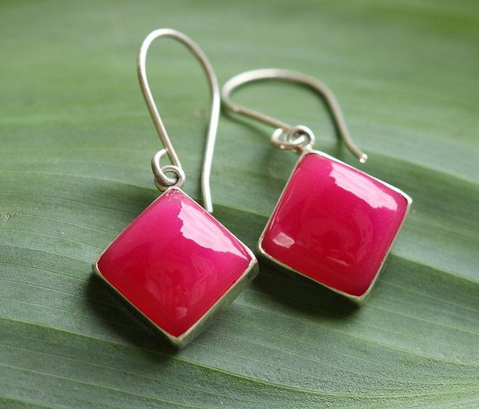 Pink earrings Chalcedony earrings Square