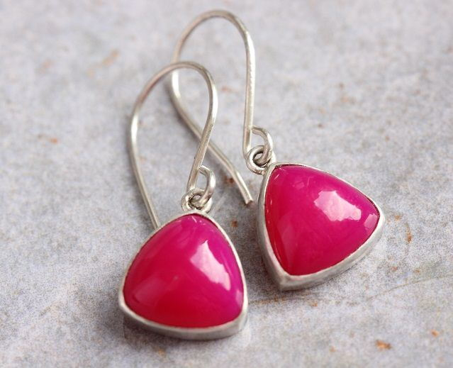 Pink earrings Chalcedony earrings Triangle