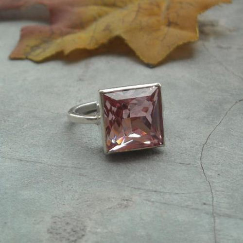 Pink princess cut crystal ring