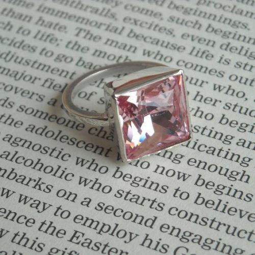 Pink princess cut crystal ring, Pink crystal Ring, Pink ring,Size 7 other sizes also available