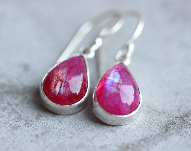 Pink rainbow moonstone earrings dangle