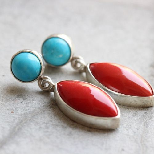 Buy Post Dangler Earrings Red Coral Turquoise Silver Earrings Online At Astudio1980 Com