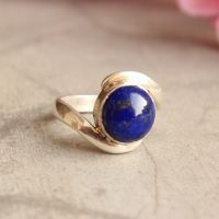 Promise ring - Lapis Lazuli ring - Blue ring - Bezel ring - Artisan