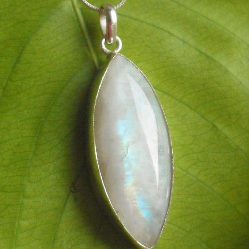 Rainbow Moonstone Pendant Necklace Leaf