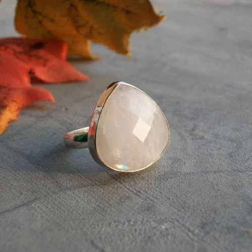 Rainbow Moonstone Ring Bezel set