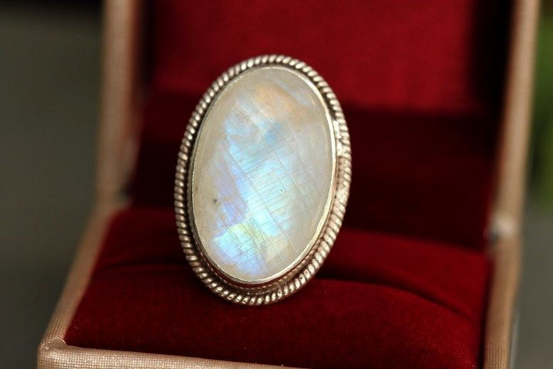 Rainbow Moonstone Ring Ethnic statement