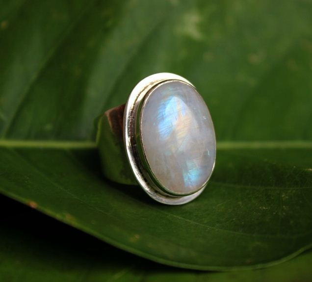 Rainbow Moonstone Ring Oval ring