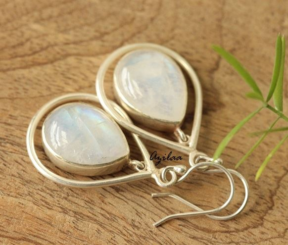Rainbow Moonstone gemstone earrings Handmade